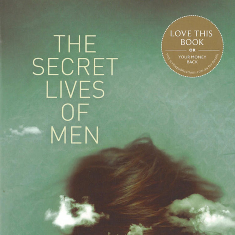 Woman with hair sweeping over her face and clouds surrounding her on book cover of The Secret Lives of Men by Georgia Blain