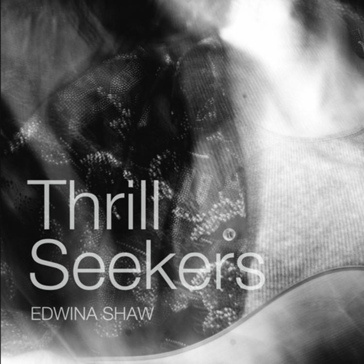 Man lying down with eyes closed on book cover of Thrill Seekers by Edwina Shaw