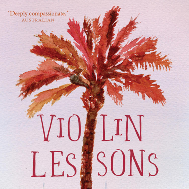 Painting of palm tree with buildings on cover of Violin Lessons by Arnold Zable