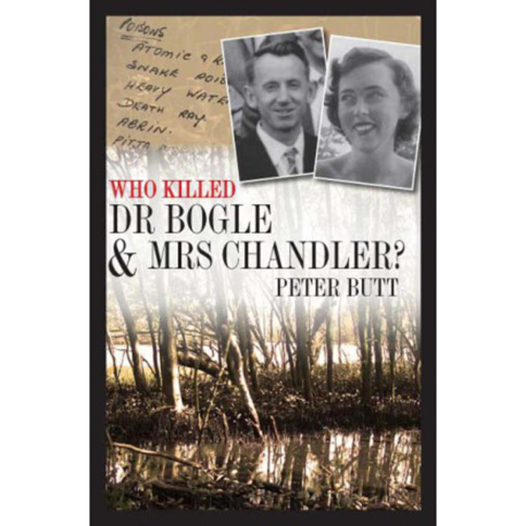 Photograph of woman and man smiling and below a picture of a swamp on book cover of Who Killed Dr Bogle & Mrs Chandler by Peter Butt