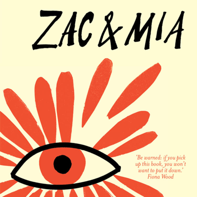 Painting of an eye on book cover of Zac and Mia by A.J.Betts