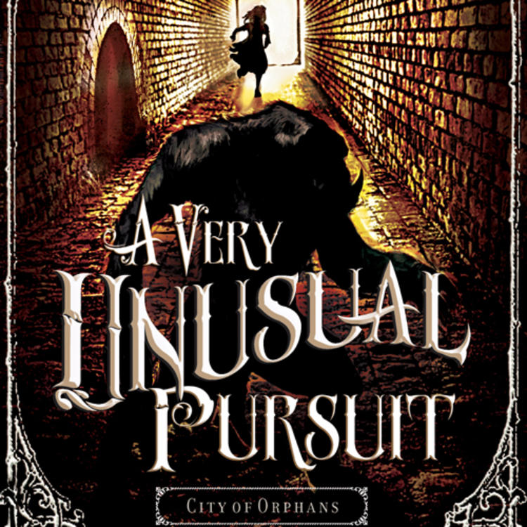 Painting of a woman running in a tunnel with an animal chasing on book cover of A Very Unusual Pursuit by Catherine Jinks