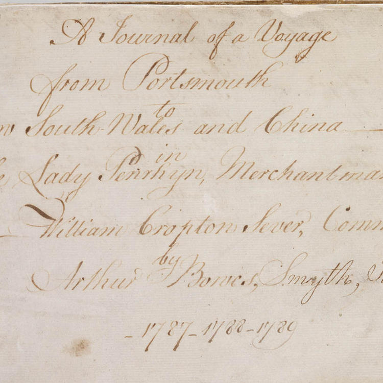 Collection 01: Arthur Bowes-Smyth, illustrated journal, 1787-1789. Title page.