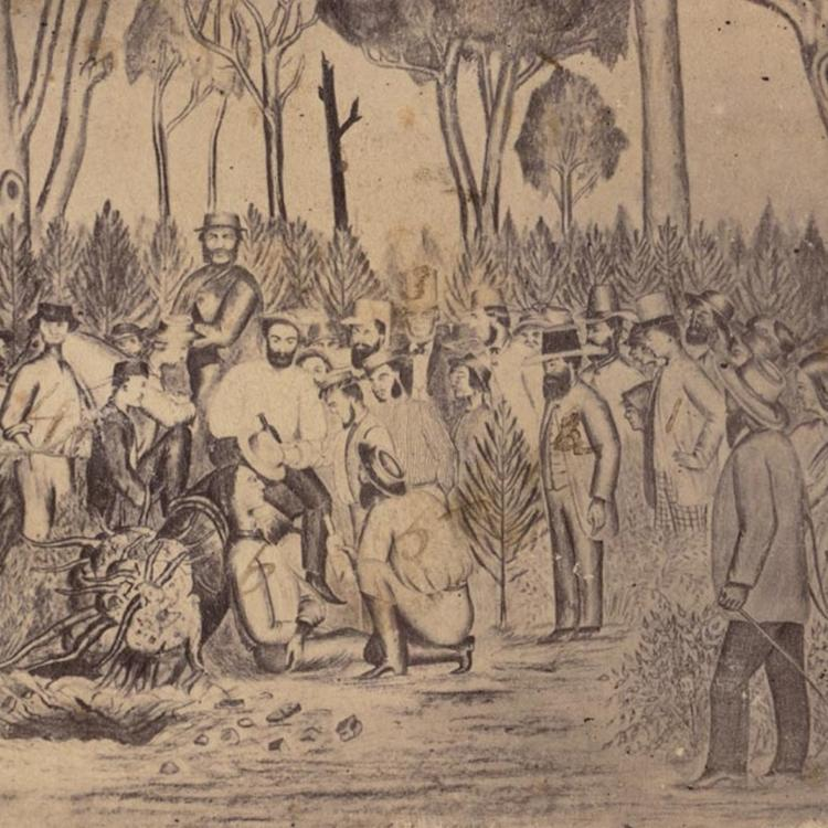 A crowd of people, mainly men, stand around outside as a man, seated on the ground, is surrounded. There are two horses in the drawing.