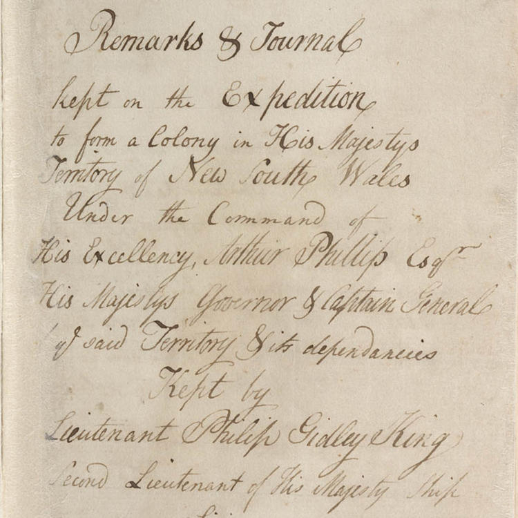 Philip Gidley King - Private journal, in two volumes, 1786-1792. Volume 1, title page.