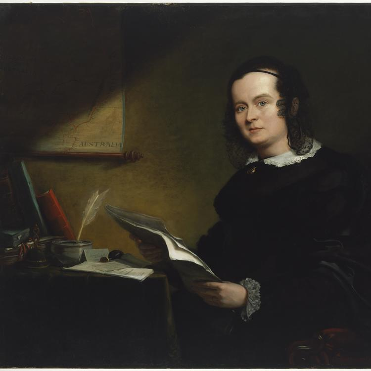 painting of a woman seated at a desk, papers in hand 1852