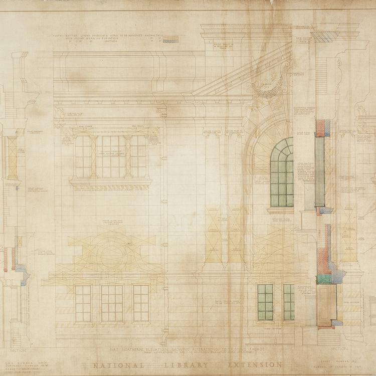 Architectural plan of a large sandstone building that appears to have coloured with age.