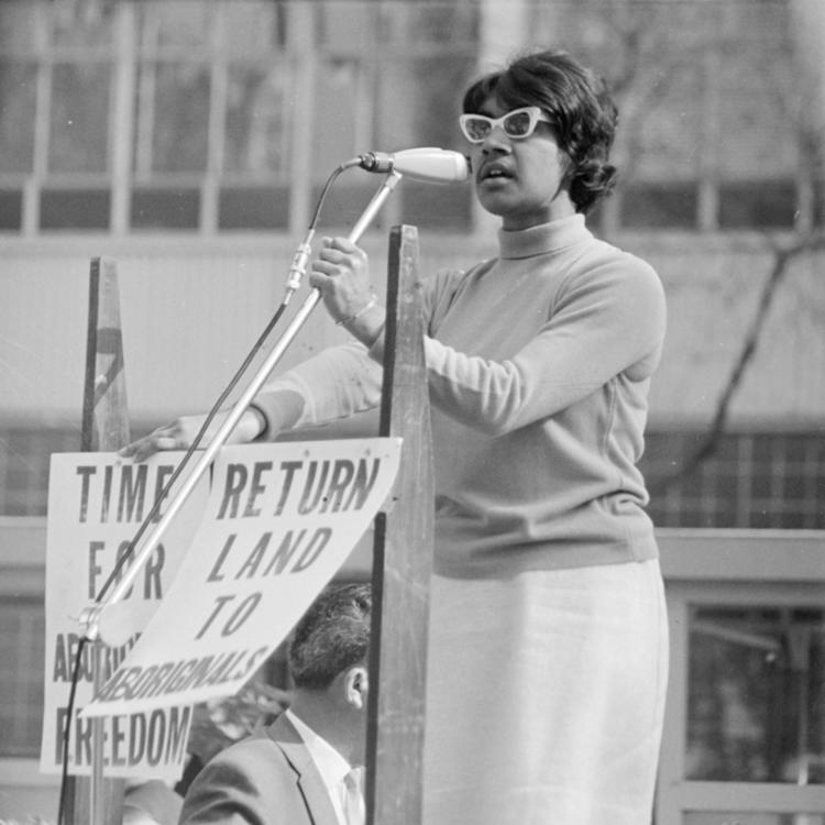 Teresa French speaking at the Aboriginal Rights Referendum Rally in Wynyard Park 17-18 May 1967