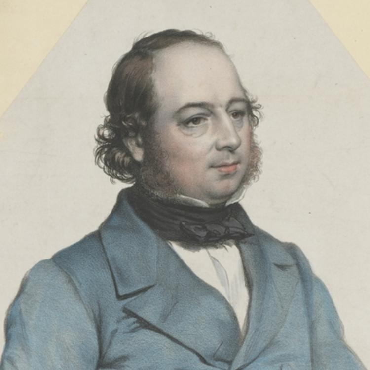 A painting of famous British ornithologist John Gould