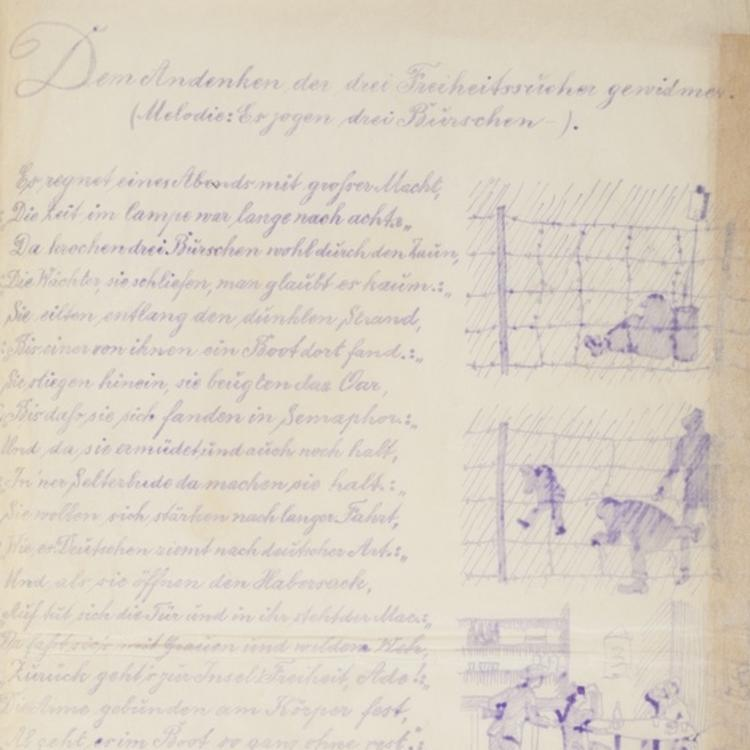 Page from a lined notebook with tight handwriting in blue pen. The page is lined with illustrations.