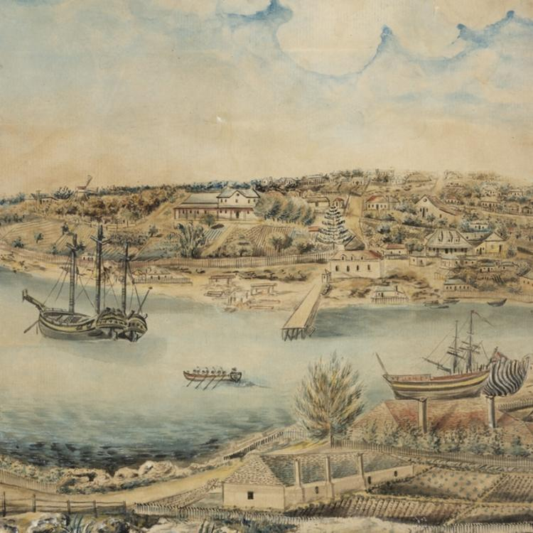 View of Sydney Port Jackson, New South Wales, taken from the Rocks on the western side of the Cove. Painted circa 1803.