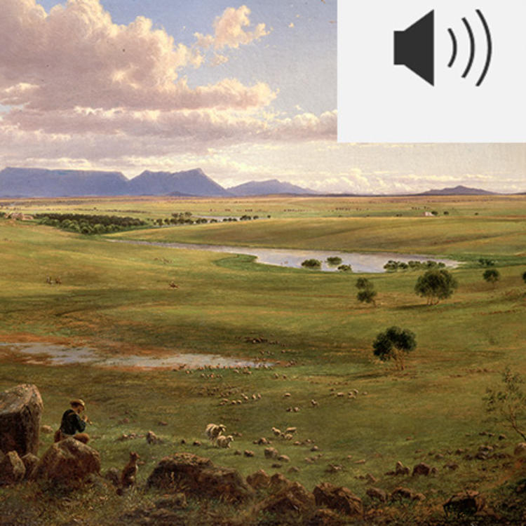Audio icon and image of painting of a shepherd tending his flock on the edge of an expansive valley of green pastural land.