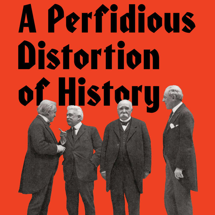 Orange book cover with four men standing for the book A Perfidious Distortion of History
