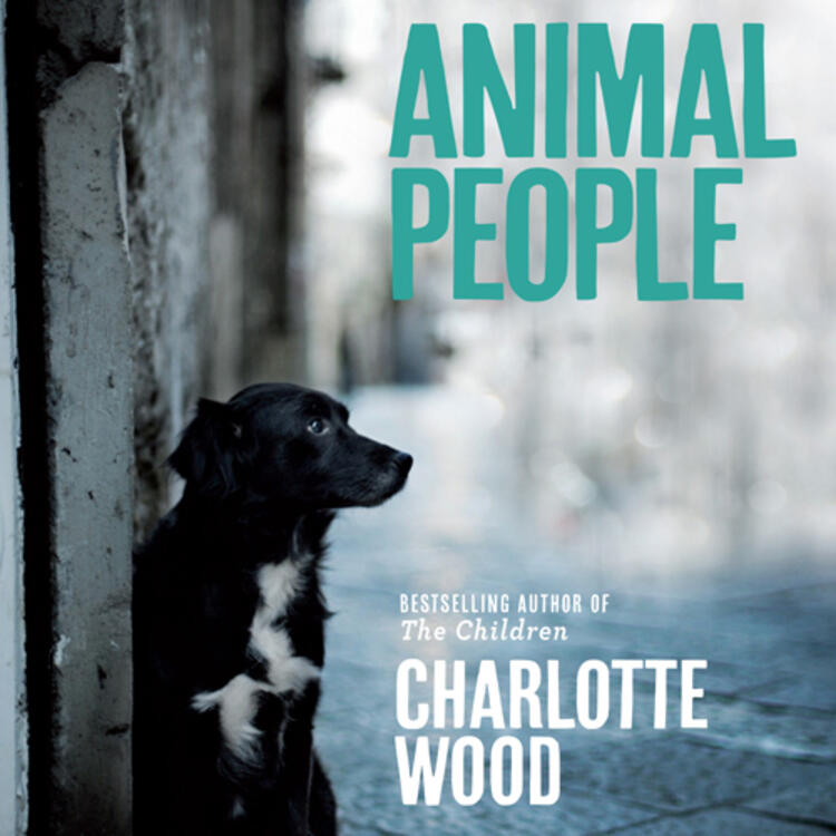 Dog sitting near a door in a street on book cover for Dog People by Charlotte Wood