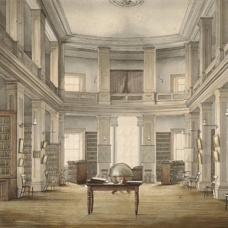 Interior, Australian Library and Literary Institution c.1868, watercolour by E. Hawley