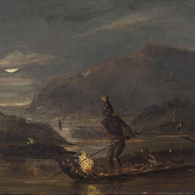 A group of Aboriginal Australians fishing, in an unknown location, at night.