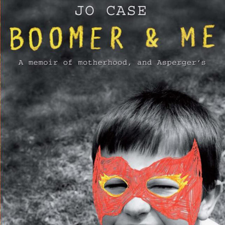 Child wearing a drawn on face mask on book cover on Boomer and Me - A memoir of motherhood, and Asperger's by Jo Case