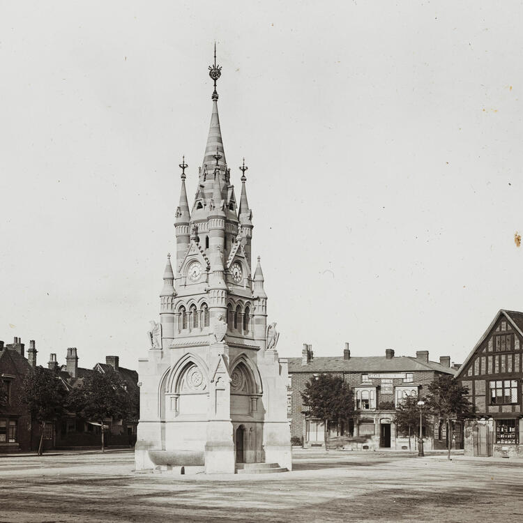[60 lantern slides of buildings and views and other objects of Shakespearean interest connected with Stratford-upon-Avon [picture] : and 1 slide, coloured, of Westminster Abbey. Nearly all bear initials G.W.W.]