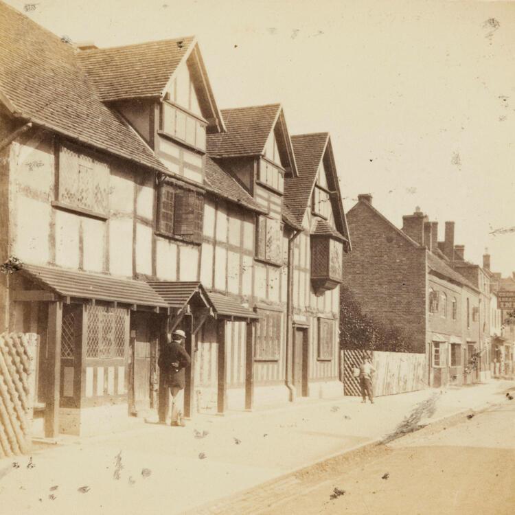 Shakespeare's birthplace, Henley Street, Stratford On Avon, Ernest Edwards, 1863, from albumen print