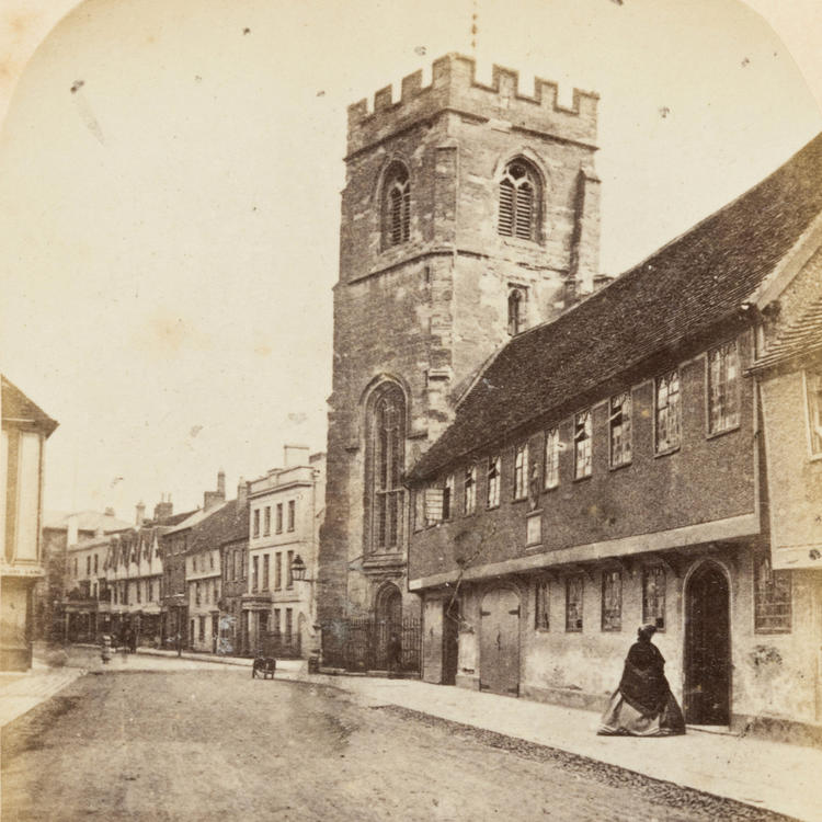 Grammar School and Tower of the Guild Chapel, Stratford On Avon, Ernest Edwards, 1863, from albumen print.