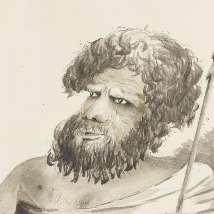 Ink drawing of an Aboriginal man wearing a draped cloak, holding a spear.
