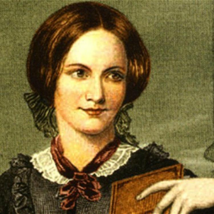 Image of Charlotte Bronte holding a book
