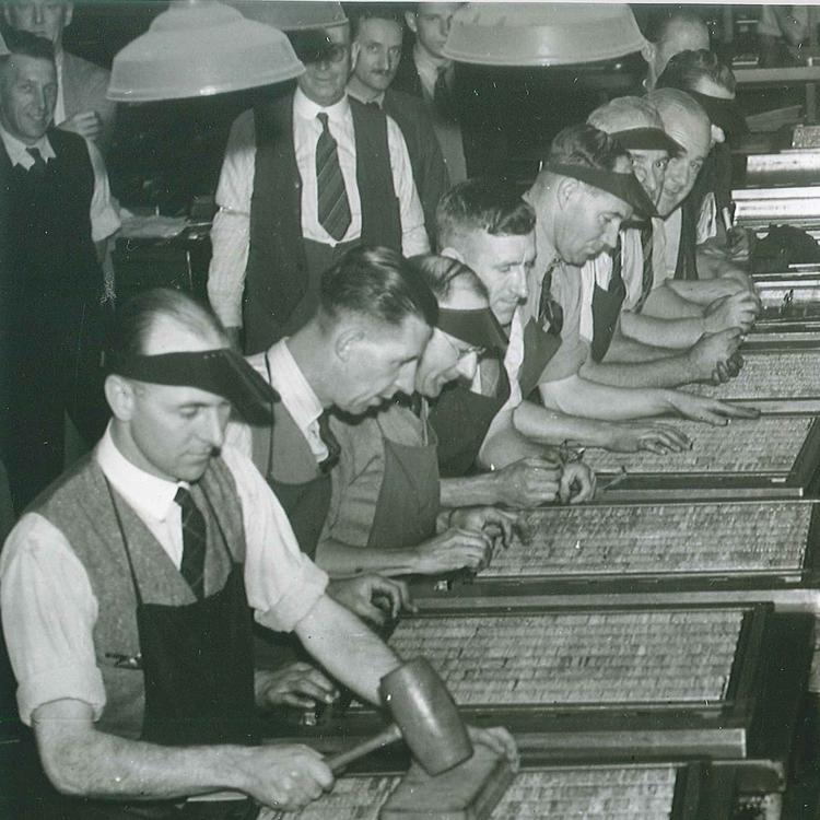 Sydney Morning Herald typesetters  preparing the paper with news appearing on the front page for the first time. 1944