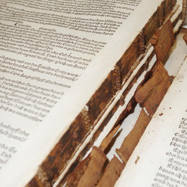 Book with broken spine in pieces
