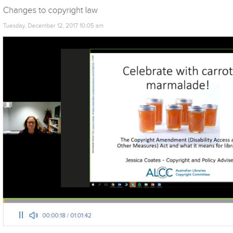 Showing screenshot of copyright presentation