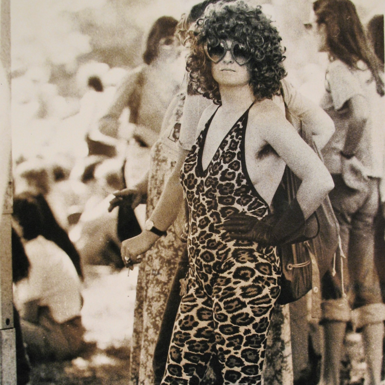 Leonie Blair in leopard print bodysuit @ Vietnam Moratorium demo, Sydney University,  1970