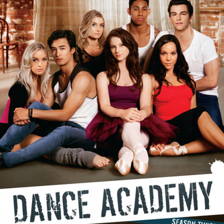 Group of dancers sitting down on the DVD cover of Dance Academy