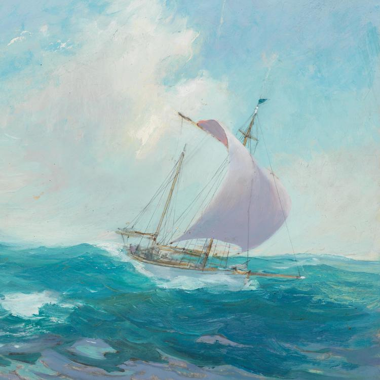 Detail: [The Kathleen Gillet in full sail], oil on card, Kathleen's voyage number 2, Thursday Island to Christmas Island, July-August 1947