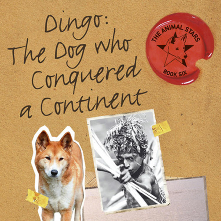 Images of a dingo, a boy and both of them on a fishing boat on book cover of Dingo: The Dog Who Conquired a Continent by Jackie French