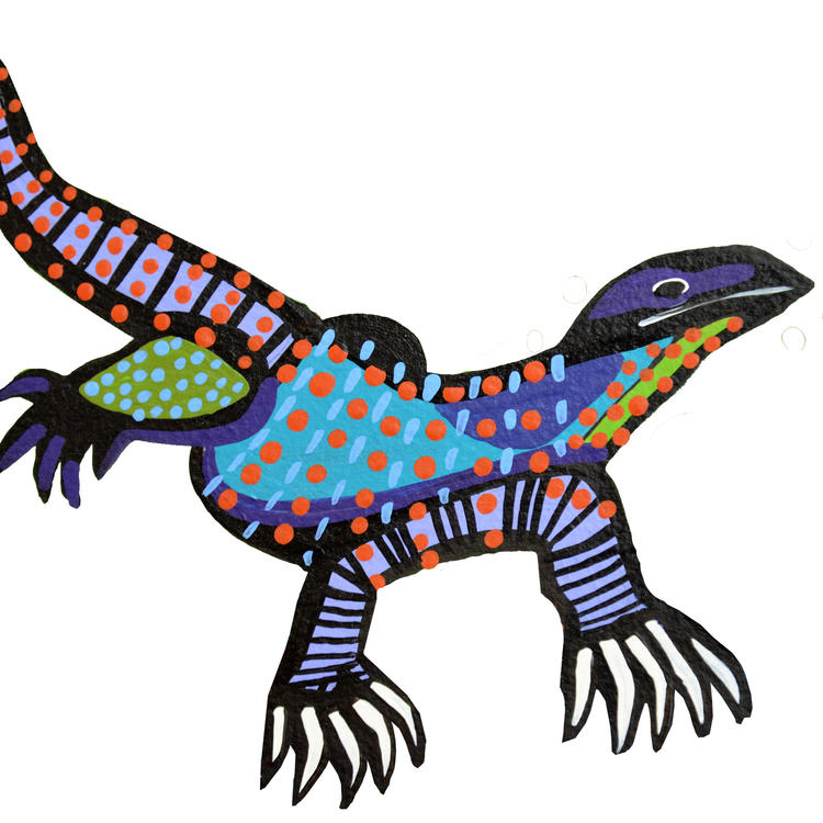A hand-drawn lizard