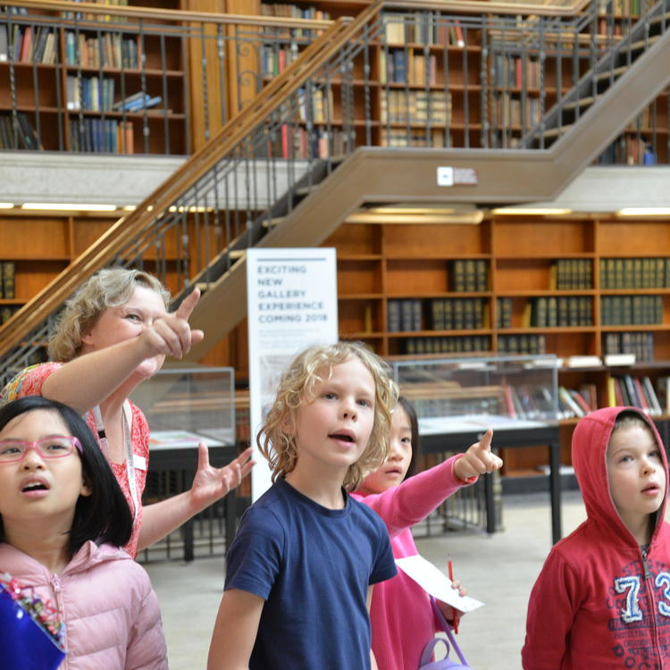 Children on a tour in the Mitchell Reading Room