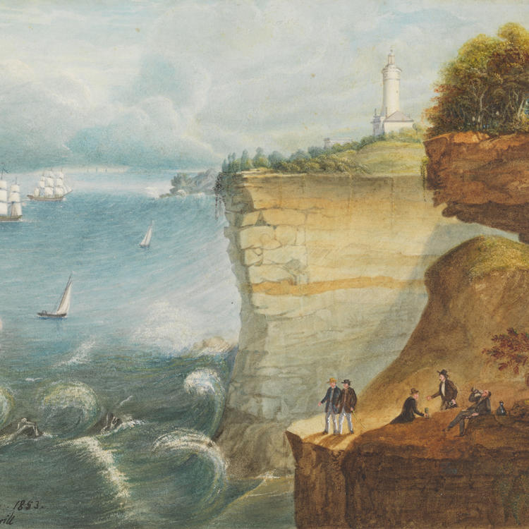 A painting of a cliff by the sea, with several men drinking in the foreground and a lighthouse in the background.