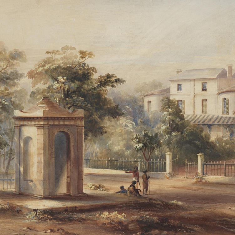 Watercolour of a grand house set in a bush-land garden - a monument stands outside the gates where a small group of people gather.