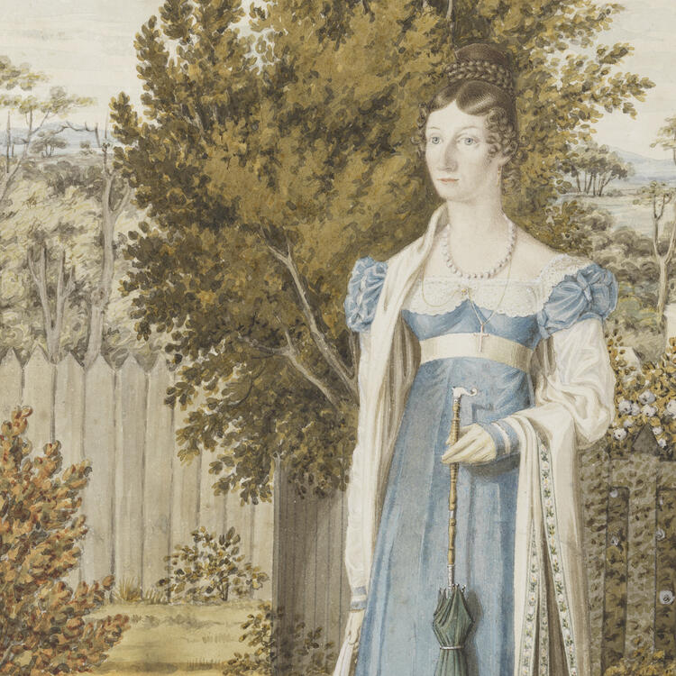 Painting of a woman in colonial dress standing in a garden with a small dog.