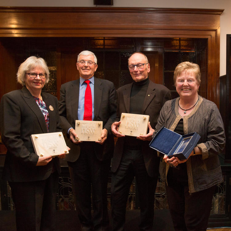 2016 Library Honours Recipients Jennefer Nicholson, Robert Bain, John Bell and Kathleen Bresnahan