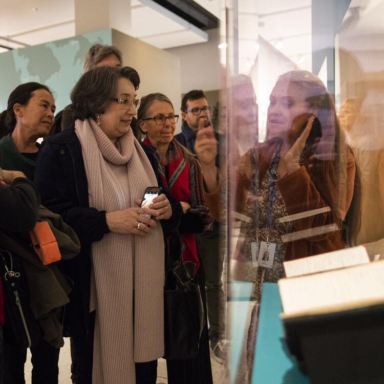 Melissa leading a tour of Living Language exhibition