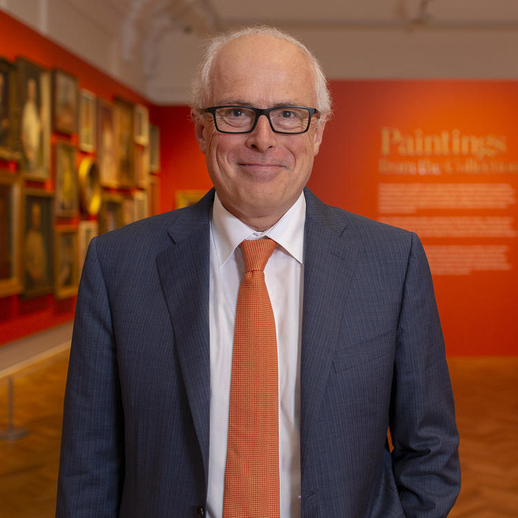 State Librarian John Vallance in paintings gallery