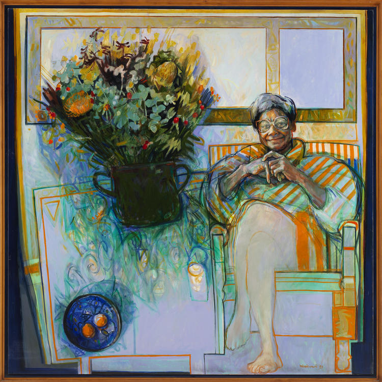 Paining of Faith Bandler sitting in her loungeroom