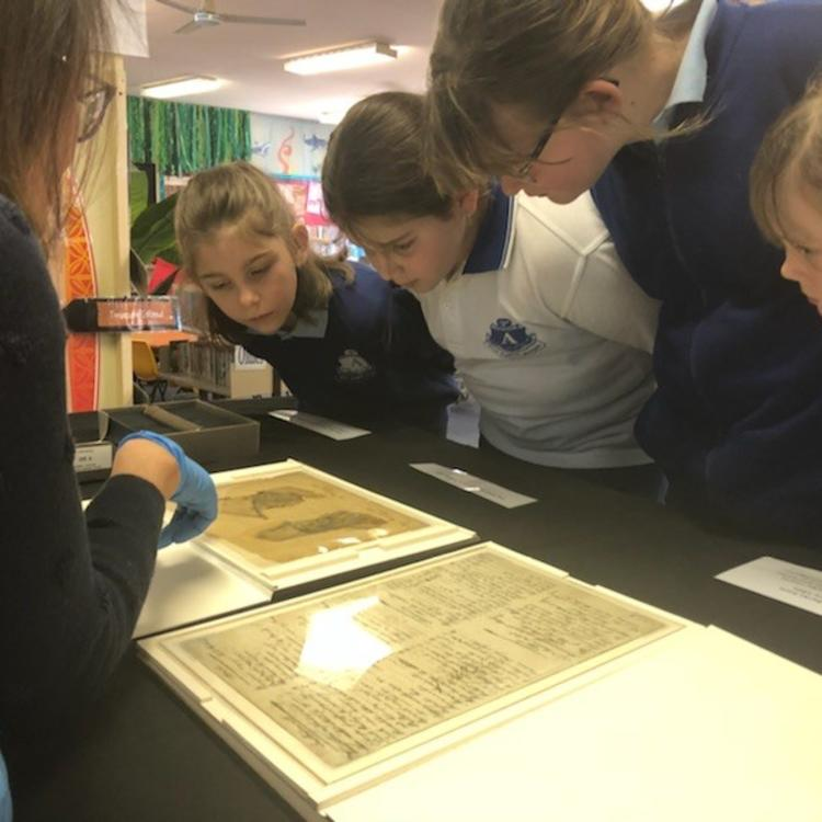 students looking at collection items
