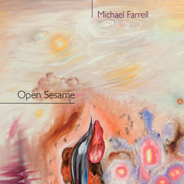 Artistic painting on book cover of Open Sesame by Michael Farrell
