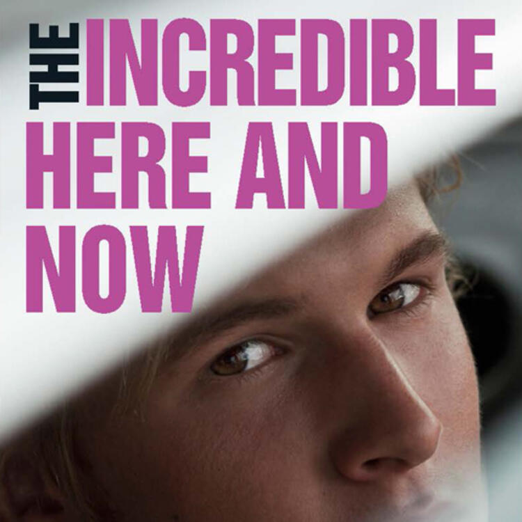 Mans face looking into camera on book cover of The Incredible Here and Now by Felicity Castagna
