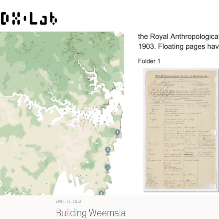 Screenshoor of a map and manuscripts