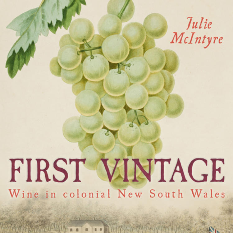 Wine grapes and old buildings with a British flag on cover of First Vintage by Julie McIntyre