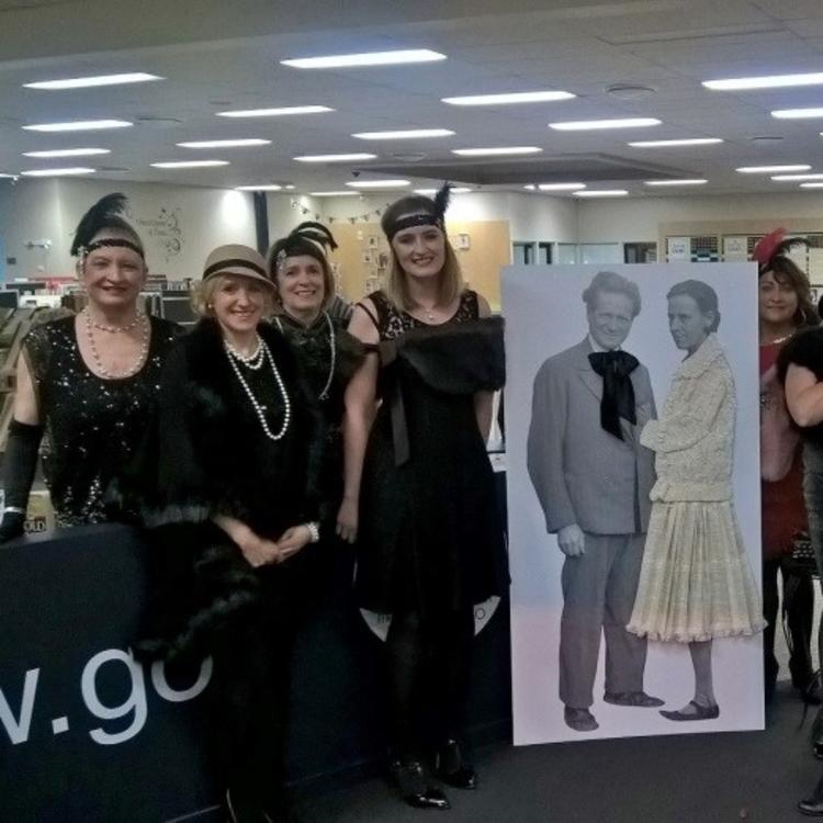 photographs of Griffith Library staff celebrating Walter Burley Griffin and his wife and colleague Marion Mahony Griffin