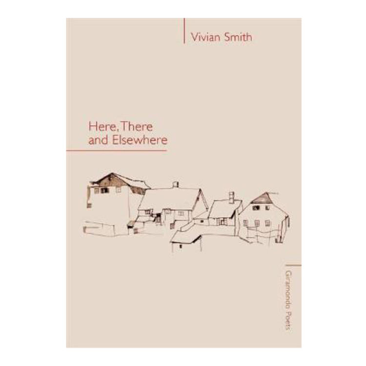Drawing of group of houses on book cover of Here, There and Elsewhere by Vivan Smith