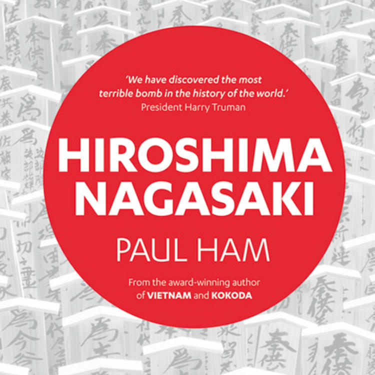 Japanese memorial markers for people on book cover for Hiroshima Nagasaki by Paul Ham